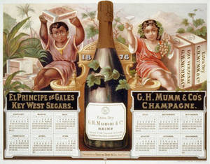 Free Picture of a Lithographed Calendar from Mumm Champagne, 1876
