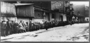Free Photo of Men Waiting In Bread Line During the Depression, 1933