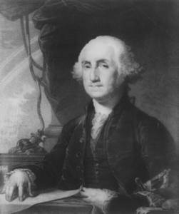 Free Portrait of President George Washington Seated at a Desk in 1789