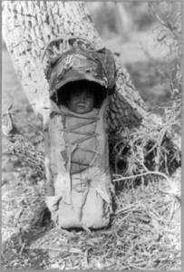 Free Picture of An Apache Indian Baby in a Papoose