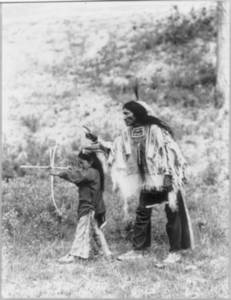 Free Photo of a Mato Wanarsaka Indian and His Son