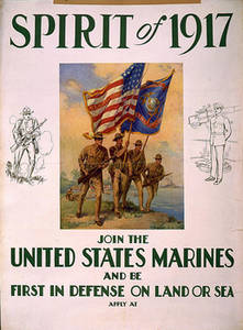 Free Picture of a United States Marines Recruiting Poster, 1917