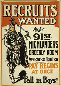 Free Picture of a WWI Army Recruiting Poster for 91st Highlanders