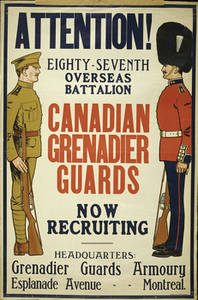 Free Picture of a WWI Army Recruiting Poster for Canadian Grenadiers