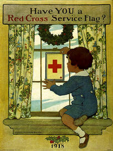 Free Picture of a Red Cross Service Flag Poster from 1918