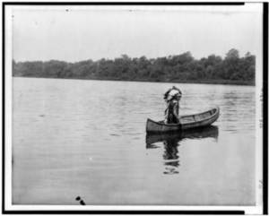 Free Photo of a Lone Indian in a Canoe, 1908