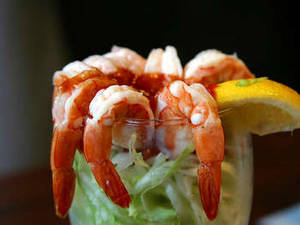 Free Photo of A Glass Rimmed with Shrimp