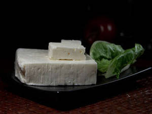 Free Photo of Feta Cheese on a Black Plate
