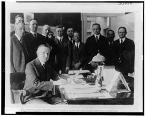 Free Photo of Calvin Coolidge Signing the Cameron Bill