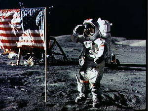 Free Photo of an Astronaut Saluting the Flag on the Moon