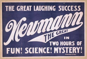 Free Picture of Newmann the Great Playbill, Blue Lithograph