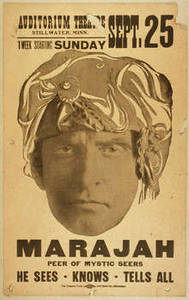 Free Picture of a Vintage Poster for Marajah peer of mystic seers : he sees, knows, tells all.