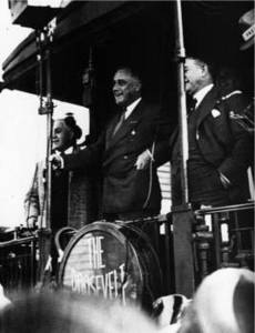 Free Picture of Franklin D Roosevelt Campaigning on a Train, 1932