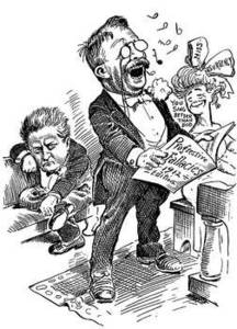 Free Black and White Caricature of Teddy Roosevelt, 1912, by Artist Clifford K. Berryman