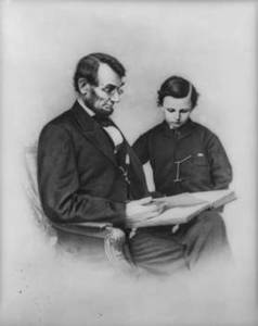 Photo of President Abraham Lincoln and His Son Tad
