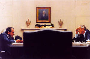 Free Picture of President Johnson and Candidate Nixon at the White House, 1968