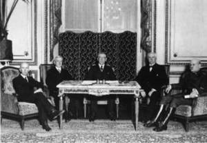 Free Picture of Woodrow Wilson, Prime Minister David Lloyd George, Premier Georges Clemenceau, and Prime Minister Vittorio Orlando