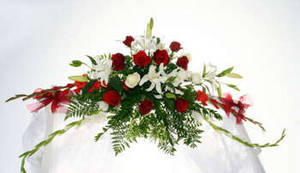 Photo of a Funeral Spray of Flowers