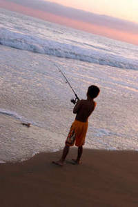Free Image of a Boy Fishing on the Beach
