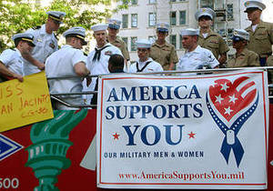 Free Photo of Marines and Sailors with America Supports You Banner, NY City
