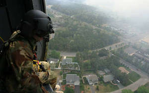 Free Photo of Sgt. Simon Debran, In a Black Hawk Helicopter, Over New Jersey, 5/2007