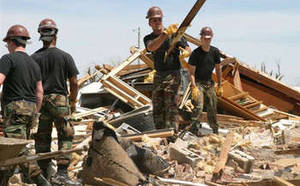 Free Picture of National Guard Doing Cleanup after Tornado, Kansas
