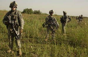 Free Picture of Army Soldiers on Foot Patrol, Yusufiyah, Iraq