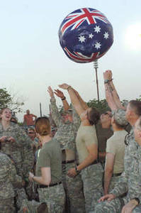 Free Picture of U.S. Military People Waiting for Toby Keith Concert, Camp Victory, Iraq, 2007