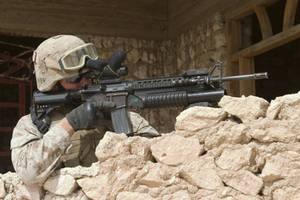 Free Picture of a Marine With His Rifle During a Security Detail