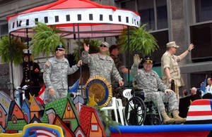 Free Picture of Armed Forces Float in Memorial Day Parade, 2007