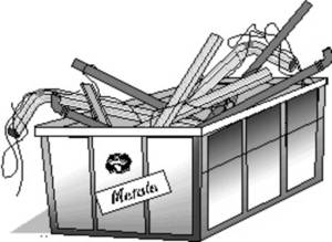 Free Clipart Picture of a Recycle Bin for Metal
