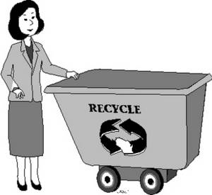Free Clipart Picture of a Woman with a Recycle Bin