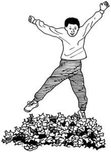 Free Clipart Picture of a Boy Playing In Leaves