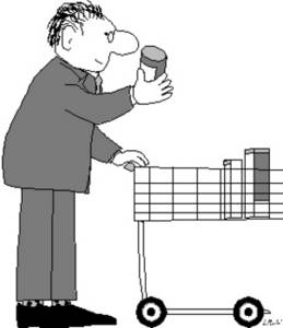 Clipart Picture of a Man With a Shopping Cart