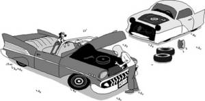 Clipart Picture of Two Junk Cars