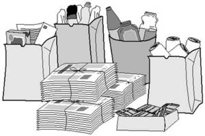 Free Clipart Picture of a Bunch of Recycling Products