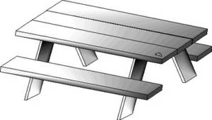 Free Clipart Picture of a Picnic Table