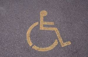 Free Picture of a Wheelchair Sign on a Road
