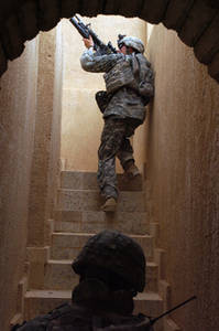 Free Picture of a Soldier in a Narrow Stairwell