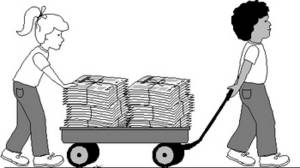 Free Clipart Picture of Two Kids Recycling Newspapers