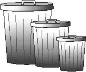 Free Picture of Three Metal Garbage Cans