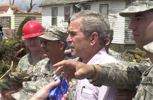 Free Picture of U.S. President George W. Bush Thanking Army Soldiers