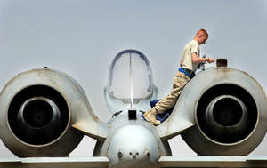 Free Picture of Senior Airman Kevin Crawford Inspecting an A-10 Warthog Aircraft