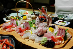 Free Picture of a  Large Wooden Platter of Sushi