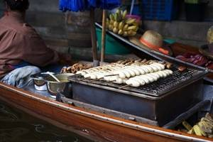 Free Picture of Bananas Cooking on an Outdoor Grill, Thailand