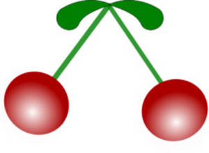 Free Clipart Picture of Two Cherries