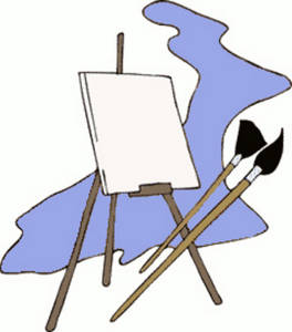 free clipart picture of an easel and paint brushes