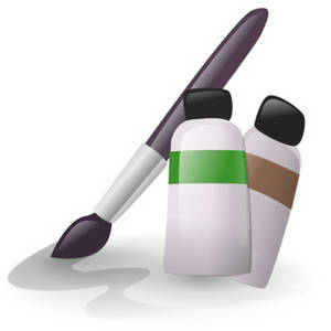 Free Clipart Picture of Bottles of Paint and a Brush