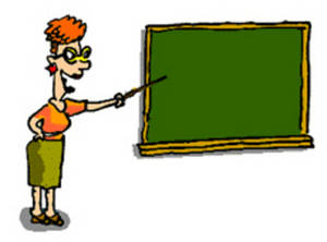 Free Clipart Picture of Teacher at a Blackboard
