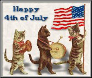 Free Clipart Picture of Patriotic Cats